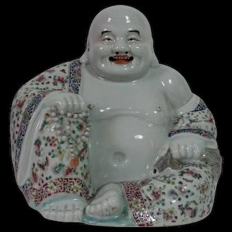 Chinese Famille Rose Model of Budai / Buddha, Marked, 20th C