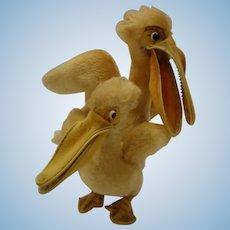 STEIFF x 2,  Rare Pelicans 17 and 25 CM