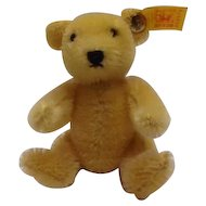 STEIFF Small 10 CM Golden Blond Teddy Bear with Ear Tag and Steiff Button