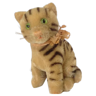 STEIFF 14 CM Susi Katze/Cat with Green Glass Eyes and Remnants of Original Pink Ribbon