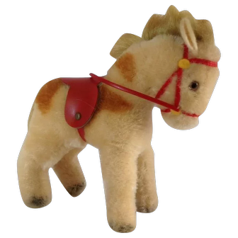 STEIFF Smallest Pony with red saddle