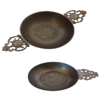 Two Vintage Pewter pieces; Porringer and Quaich both with Crown Handles