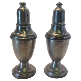 Vintage Pewter Salt and Pepper Shakers with glass inserts from International Pewter Co.