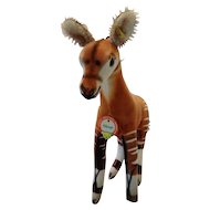 STEIFF Middle sized Velvet Okapi, 28CM and all ID's, MINT