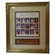 First Day issue framed Set of American Dolls Stamp Sheet 1997