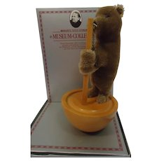 STEIFF Roly Poly Replica Circus Brown Bear, in box with button