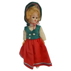 "Vintage Hard Plastic Doll 8"" tall including hat"