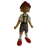 "Vintage Polish Wooden Peg Boy Doll 8.5"" tall including hat"