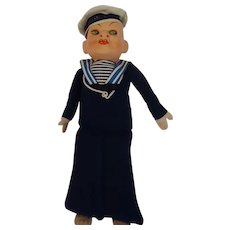 Sailor Doll 11 inches tall, cloth and composition