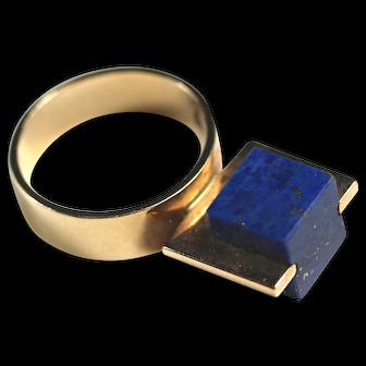 CFM Denmark 14K Modernist Lapis Cube Ring