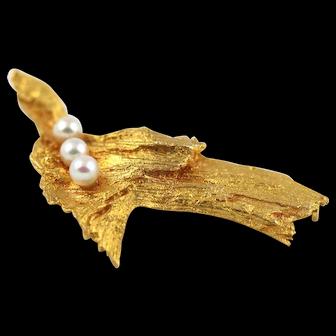 Lapponia 14K Tree Bark & Cultured Pearls Brooch