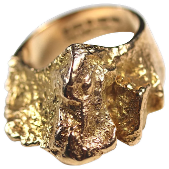 Bold Lapponia Sculpted 14K Nugget Ring by Bjorn Weckstrom