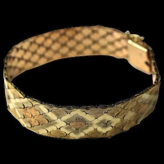 18K Patterned Mesh Link Bracelet