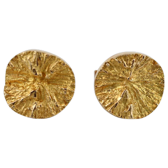 Lapponia 14K Craggy Gold Nugget Cufflinks by Bjorn Weckstrom