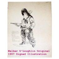 1907 Original Illustration of Maclyn Arbuckle by  Artist, Walker O'Loughlin  Hand Signed