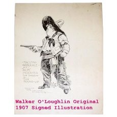 1907 Original Illustration of Maclyn Arbuckle by  Artist, Walker O'Loughlin  Hand Signed
