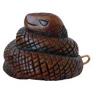 Early 19th century Japanese Hand Carved Ironwood Netsuke, Nigerian Snake,  Artist Signed