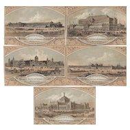 1876 Centennial International Exhibition Trade Cards Lot of 5 Originals