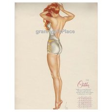 Esquire  Pin-Up Girl by Alberto Vargas Calendar Art Print 1946