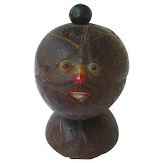 Figural Hand Carved Gourd, Lidded Container 19th Century