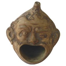 Asian Incense Burner, Figural Two Face Pottery 19th Century