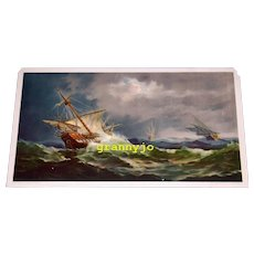 Chromolithograph Columbus Fleet In A Storm Listed Artist  Fred Pansing 1893