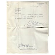 Sir Edmund Hillary Autograph Hand Signed Letter-Double-Signed Mt-Everest