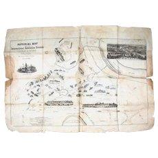 Rare Philadelphia Centennial Worlds Fair Map, Original 1876