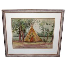 Watercolor,  Teepee Signed C L Hobson.  Professionally Framed  Mid 20th Century