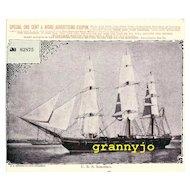 U S S SARATOGA Maritime Print with Original Newspaper Advertising Coupon 1890's