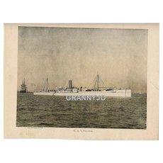 USS Vesuvius Maritime Print, Navy Dynamite Gun Cruiser Nautical Original  1892