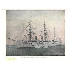 USS Chicago Maritime Print, Navy Protected Cruiser Flagship Original 1892