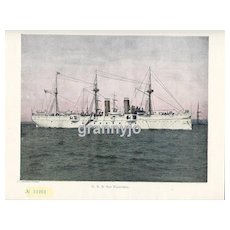 USS San Francisco Maritime Print, Navy Protected Cruiser, Steam/Sails 1892
