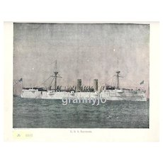 USS Baltimore, Navy Protected Cruiser, Steam/Sails Original 1892 Maritime Print