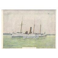 USS Dolphin Gunboat/Dispatch Sail/Steam Nautical Original 1892 Maritime Print
