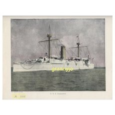 Original 1892 USS Charleston Maritime Print, Navy Protected Cruiser, Steam