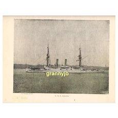 USS Atlanta Maritime Print, Navy Protected Cruiser, Steam & Sails Original 1892 Print