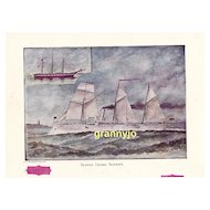 USS Bancroft Maritime Print, Navy Training Cruiser, Original 1892 Nautical Print