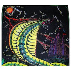 Vivid Black Light Poster, King Cobra, Flocking, Signed Lalo Vintage 1974