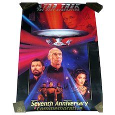 Star Trek 7th Anniversary Limited Edition Poster w/3 Hand Signed Autographs 1994