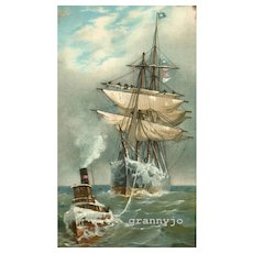 Fred Pansing Chromolithograph A Stormy Voyage, Listed Artist 1893