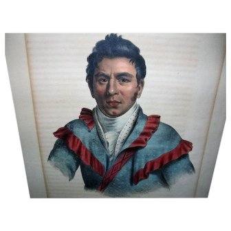 Chief O-Che- Finceco Lithograph by D Rice & J Clark, Original 1843