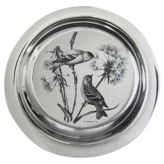 Sterling Plate by JAMES F LANSDOWNE sealed 1972  Audubon Society Franklin Mint