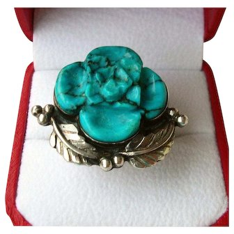 Sterling Silver & Turquoise Flower Ring 12 grams Size 8 Vintage Ladies