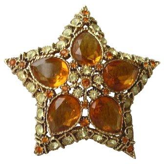 Kenneth J Lane Vintage  Star Brooch/Pin, Amber/Peridot Color Stones