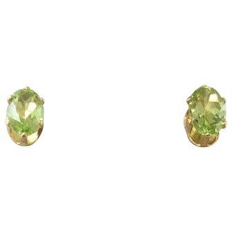 14 K Gold & Peridot Stud Earrings, Nice Size New Old Stock