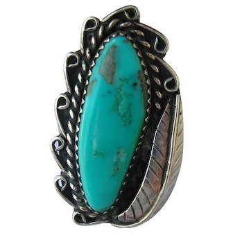 Sterling Silver & Turquoise  Ring 6.7 grams Size 7 Vintage Ladies