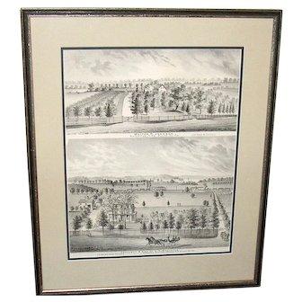 Bucks County Penna. Print, Waterview Farm & Cornwell Station Penna RR 1876