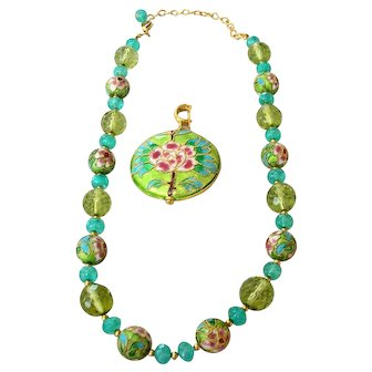 Chinoiserie Cloisonne & Glass Beaded Necklace  Fully Faceted w/Removable Enhancer Pendant Mint