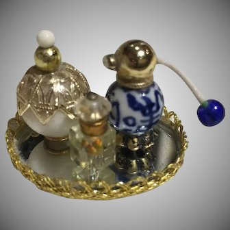 Miniature Parfum Bottles and Mirrored Tablet